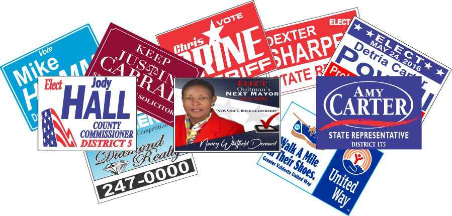 Yard Signs Campaign Signs Realty and Political advertisement